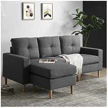 Fabric Corner Sofa Couch L Shape Sofa Settee, 3