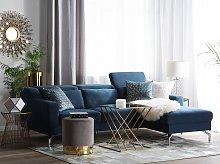 Fabric Corner Sofa Left Hand Blue Polyester
