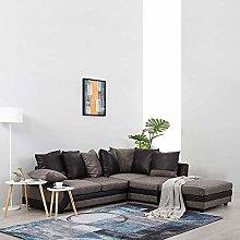Fabric Corner Sofa Set With Large Footstool,Modern