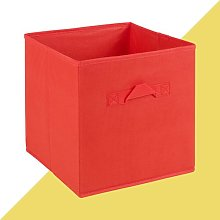 Fabric Cube or Bin Hashtag Home Colour: Red, Size: