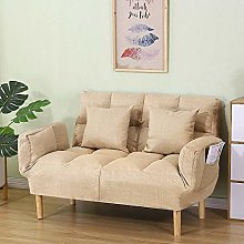 Fabric Folding Sofa, Solid Wood Double Small