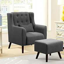Fabric Padded Lounge Armchair and Footstool Single
