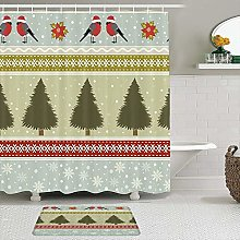 Fabric Shower Curtain and Mats Set,Nature Winter
