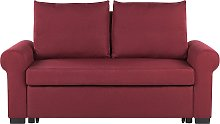 Fabric Sofa Bed Burgundy Red Polyester Upholstery