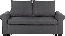Fabric Sofa Bed Dark Grey Polyester Upholstery
