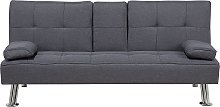 Fabric Sofa Bed Dark Grey ROXEN