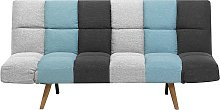 Fabric Sofa Bed Grey and Blue Patchwork INGARO