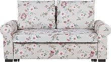 Fabric Sofa Bed Light Grey Floral Pattern