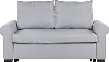 Fabric Sofa Bed Light Grey Polyester Upholstery
