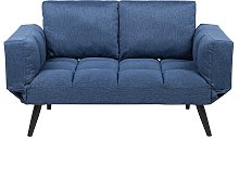 Fabric Sofa Bed Navy Blue BREKKE