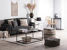 Fabric Sofa Black Fabric Upholstery 2 Seater