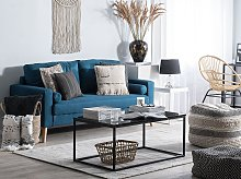 Fabric Sofa Blue Fabric Upholstery 2 Seater Button
