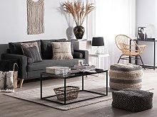 Fabric Sofa Dark Grey Fabric Upholstery 2 Seater