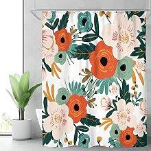 fabric spring flower shower curtain bathroom