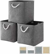 Fabric storage box, gray storage basket, cube