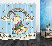 Fabric Unicorn Baby Rainbow Child Shower Curtain