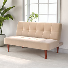 Fabric Upholstered 2 Seater Sofa Bed, Beige