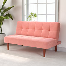 Fabric Upholstered 2 Seater Sofa Bed, Pink