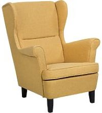 Fabric Wingback Chair Yellow ABSON