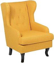 Fabric Wingback Chair Yellow ALTA