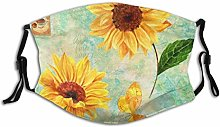 Face Co-Ver Golden Yellow Watercolor Sunflowers