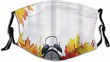 Face Guard Mouth Guard Clock Autumn Leaves and an