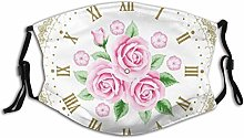 Face Guard Mouth Guard Shabby Flora Vintage Clock