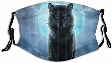 Face Mask Animal Wolf With Moonlight Under The