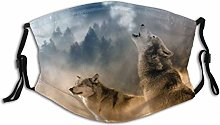 Face Mask Pattern Animal Wolves Howling To The