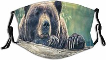 Face Masks Animal Cute Bear Cub On Stump Paw Chin