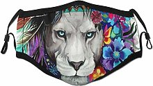 Face Scarf Colorful Lion Wild Animal Peacock
