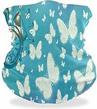 Face Scarf Headwear,Butterfly Clock Wallpaper
