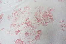 Faded Roses French Linen Red/Pink/Beige 140cm