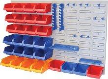 FAIPAN43 XMS14BINS Storage Bin Box Set with Wall Panel Trays 43 Pieces - Faithfull