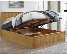 Fairmont Oak Wooden Ottoman Storage Bed Frame -