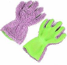 FairOnly 2 PCS Car Wash Gloves Car Chenille Gloves