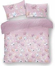 FAIRWAYUK Girls Duvet Cover Set Double Bed, Pink