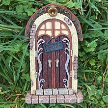 Fairy Double Door with Bell Welcome Sign Stone