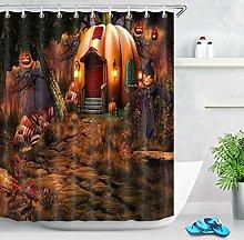 Fairy Halloween Pumpkin Cottage Shower Curtain