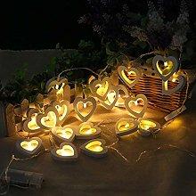 Fairy Lights LED Wooden Wood Heart Love String