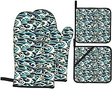 FAKAINU Oven Mitts and Pot Holders Sets,Nautical