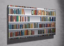 Fake Bookcase 3d photo canvas print (7333978)