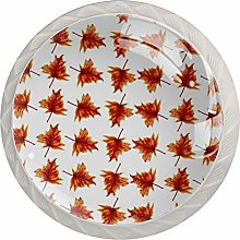 Fall Leaves 4 Pack Glass Drawer Knobs- Round Shape
