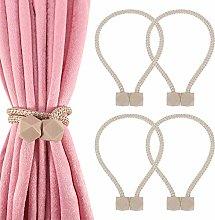 falllea 4 Pcs Curtain Tiebacks, Magnetic Curtain