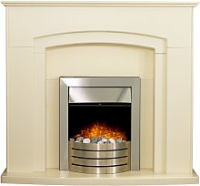 Falmouth Fireplace in Cream with Downlights &