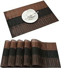 Famibay Bamboo PVC Weave Placemats Non-slip Table