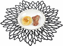 Famibay Black Placemats Set of 6 Washable Hollow