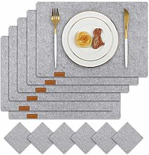 Famibay Felt Placemats and Coasters Set of 6 Grey