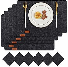 Famibay Felt Placemats with Coasters Set of 6