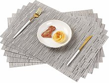 Famibay Grey Placemats Washable Dining Table Mats